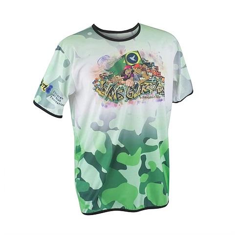 Camiseta Promocional, 100% poliester na cor branca, com sublimação completa, na frente, nas costas e